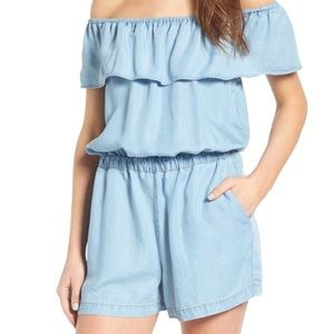 Splendid off the shoulder chambray romper NEW